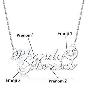 Collier Prénom-2 Prénoms et Emojis-Argent Collier mdr