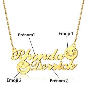Collier Prénom-2 Prénoms et Emojis-Plaqué Or Collier mdr