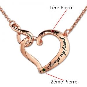 Collier Cœur-Gravure et Pierre de Naissance-Plaqué Or Rose