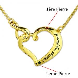 Collier Cœur-Gravure et Pierre de Naissance-Plaqué Or