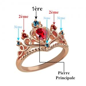 Bague Diadème-Pierre de Naissance-Plaqué Or Rose