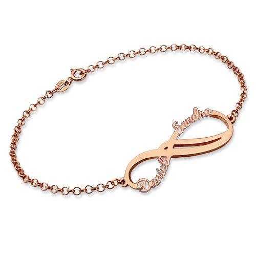 grande remise plus de photos vente moins chère Personnalisé Infinity 2 noms Bracelet meilleur cadeau pour elle