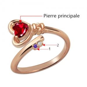 Bague Clé du Cœur-Pierres de Naissance-Plaqué Or Rose