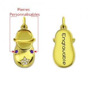 Collier Chaussure de Bébé-Pierres de Naissance et Gravure-Plaqué Or