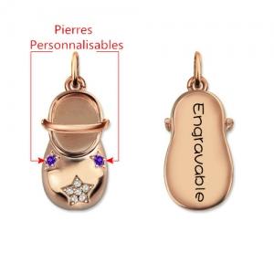 Collier Chaussure de Bébé-Pierres de Naissance et Gravure-Plaqué Or Rose