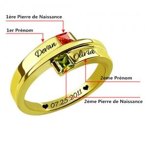 Bague d'Amour-2 Pierres de Naissance et Gravure-Plaqué Or