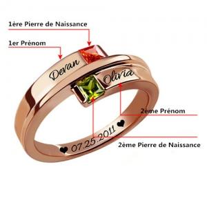 Bague d'Amour-2 Pierres de Naissance et Gravure-Plaqué Or Rose