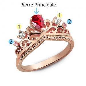 Bague Diadème-Pierres de Naissance-Plaqué Or Rose