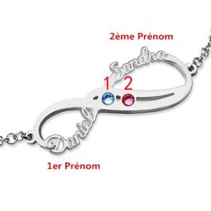 Bracelet Infini-2 Prénoms et Pierres de Naissance-Argent