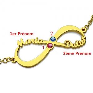 Bracelet Infini-2 Prénoms et Pierres de Naissance-Plaqué Or