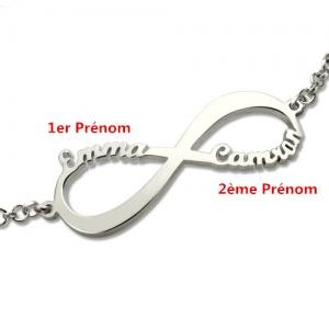 Bracelet Infini-2 Prénoms-Argent