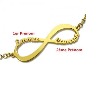 Bracelet Infini-2 Prénoms-Plaqué Or