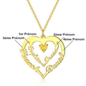 Collier Cœur d'Amour-4 Prénoms et Pierres de Naissance-Plaqué Or