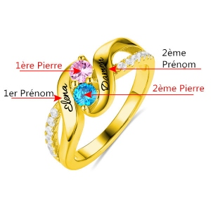 Bague d'Amour-2 Pierres de Naissance et Prénoms-Plaqué Or