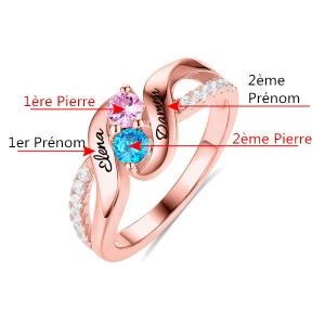 Bague d'Amour-2 Pierres de Naissance et Prénoms-Plaqué Or Rose