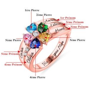 Bague Cœur-5 Prénoms et Pierres de Naissance-Plaqué Or Rose
