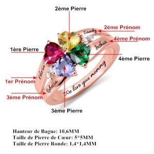 Bague d'Amour-Pierres de Naissance et Gravure-Plaqué Or Rose