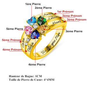 Bague d'Amour-Pierres de Naissance et Gravure-Plaqué Or