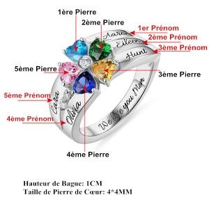 Bague d'Amour-1 à 8 Pierres de Naissance et Gravure-Argent