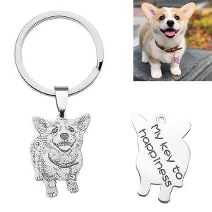 Porte-clés-Gravure d'Animal-Argent/Acier Inoxydable